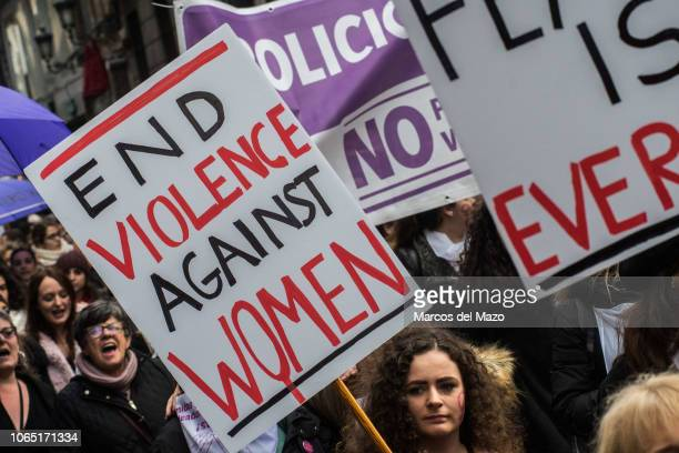 Women protesting during a demonstration on the International Day for the elimination of violence against women.