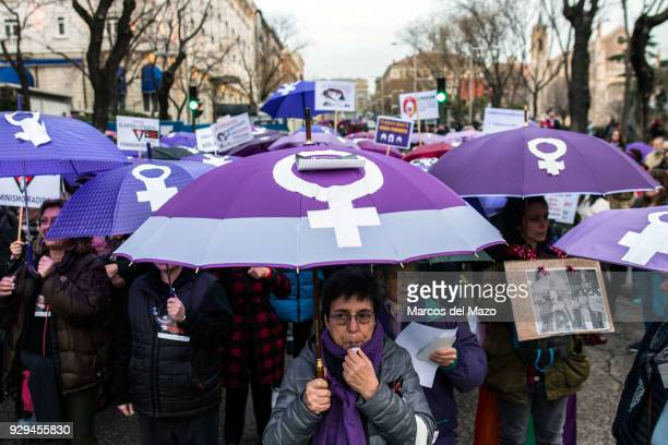 Women protesting during International Women's Day