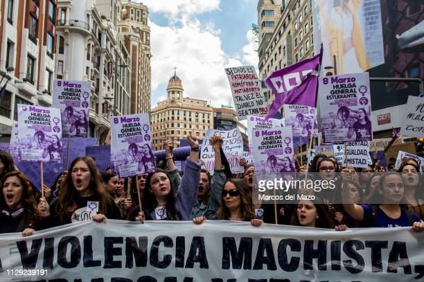 Women protesting shouting feminists slogans during a women strike for International Women's Day. For a second year in Spain, women have been called...