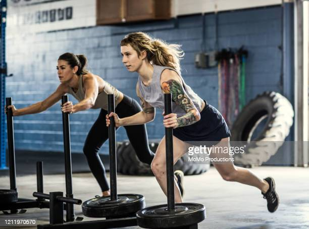 women pushing weighted sled at cross training gym - leanincollection ストックフォトと画像