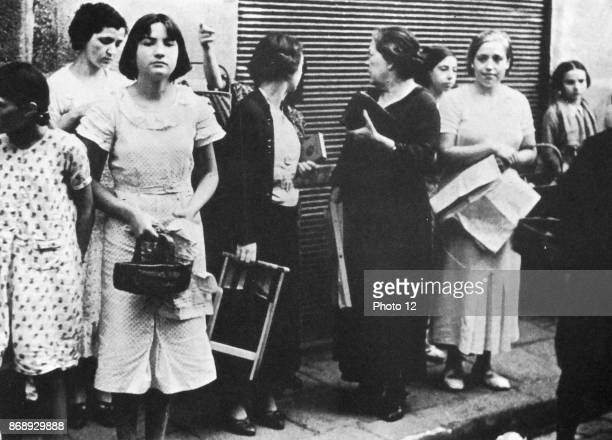 Women queue for basic food supplies in Spain during the Spanish Civil War