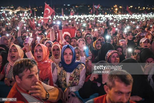 Women react as they read the names of people killed during the July 15 2016 coup attempt while they stand near the July 15 Martyrs Bridge in Istanbul...