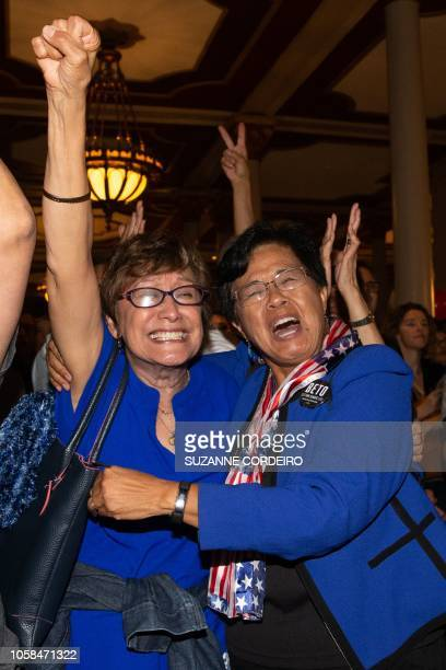 Women react to election results at the Democrat Election Night Party held at The Driskill Hotel on November 6 2018 in Austin Texas Control of...