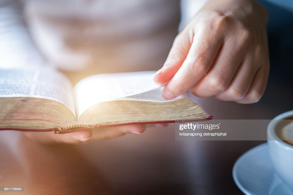 women reading holy bible. : Stock Photo