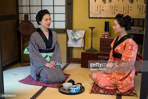 Women ready for traditional Japanese tea in Kyoto Japan