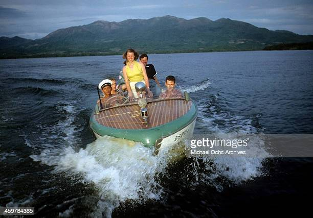 A women relaxes in a boat in Acapulco Mexico