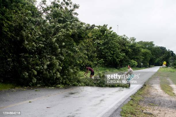 Women remove a fallen tree on the road after heavy rains in Guanacaste, Costa Rica, on August 25, 2021.