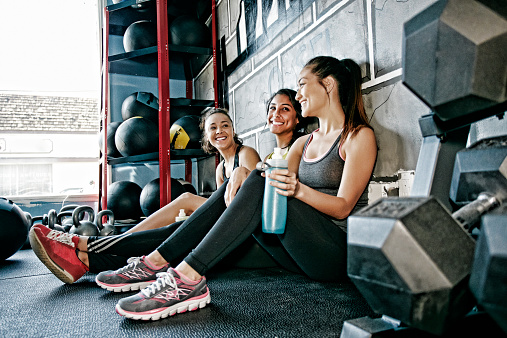 Women resting together in gym - gettyimageskorea