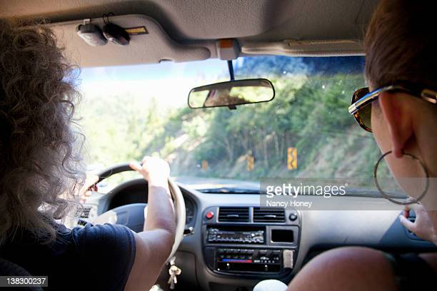 Women riding in car