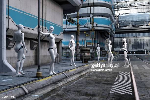 Women robots in futuristic city