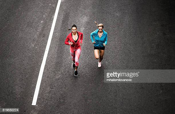 Women running on the streets