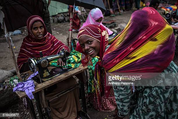 Women seamstresses at the Bati market Ahmara region Ethiopia