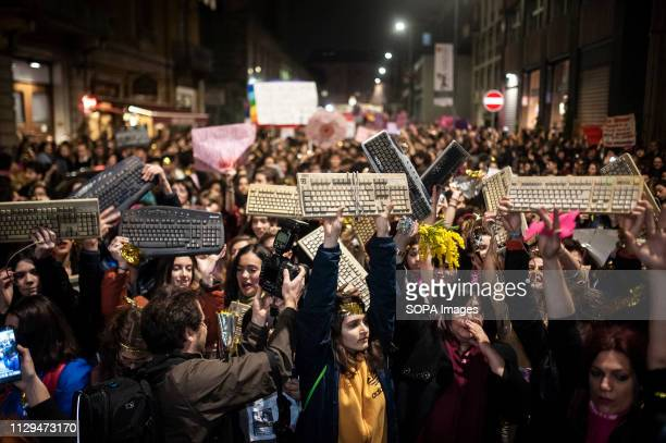 Women seen holding keyboards during the protest The network Non Una di Meno planned and organized a rally and a protest against female discrimination...