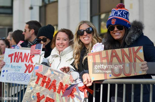 Women seen holding placards saying thank you during the parade Thousands from more than 300 units in the Armed Forces took part in the Annual...