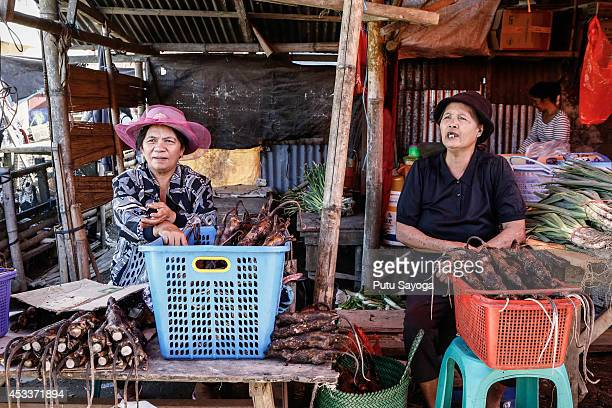 Women sell roasted rats at Langowan traditional market on August 9 2014 in Langowan North Sulawesi The Langowan traditional market is famous for...