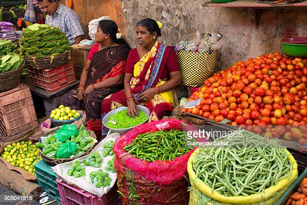 Women sell vegetables in Goubert Market in Puducherry Puducherry formerly known as Pondicherry is a Union Territory of India In 1674 Pondicherry...