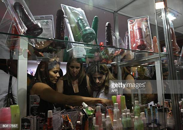 Women shop on April 19 2008 at the 12th Erotika Fair Latin America's biggest erotica trade show held at the exhibition hall Mart Centre in Sao Paulo...