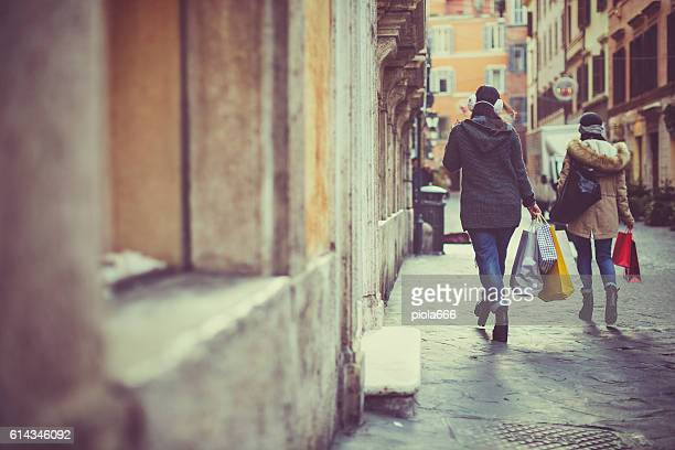 Women shopping during christmas sales in Rome, Italy