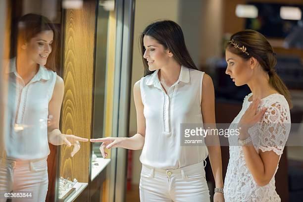 Women shopping in jewelry