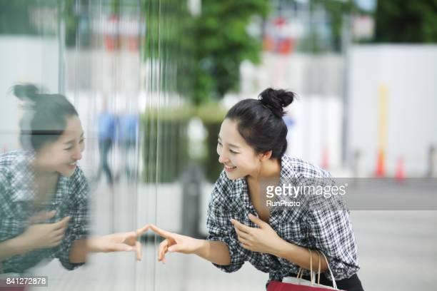 Women shopping in town