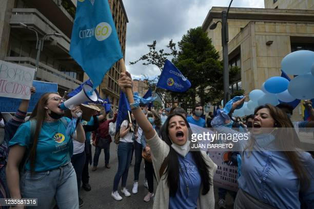 Women shout slogans during a demonstration against the abortion law in front of the Supreme Court of Justice in Bogota, on October 14, 2021.