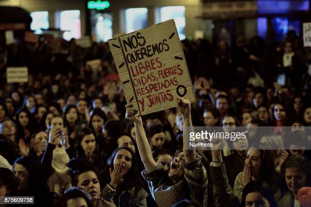 Women shout slogans during a protest against violence against women in Madrid Spain on 17th November 2017