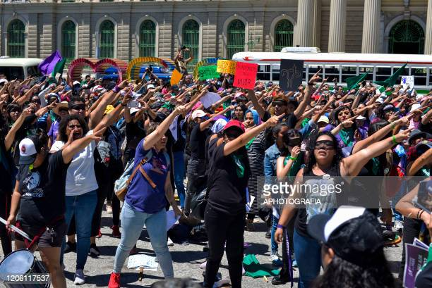 Women shout slogans in a performance called A rapist in your way during a demonstration as part of International Women's Day on March 8 2020 in San...