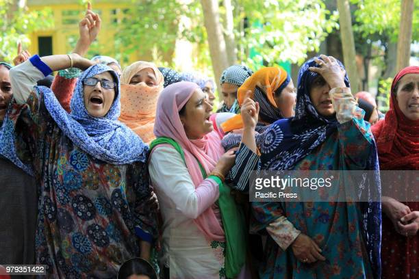 NOWPORA KULGAM JAMMU KASHMIR INDIA Women shouted Anti Indian Slogans during the funeral of 25 years old Aijaz Ahmad Bhat a civilian who was killed By...