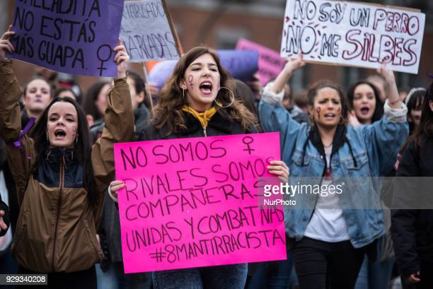 Women shouting angry slogans during the International Women's Day in Madrid on 8th March 2018 Women demand equal working rights and an end to...