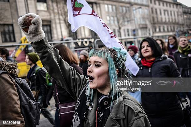 Women shouts slogans during a protest held in solidarity with the Washington DC Women's March in Dublin Ireland on January 21 2017