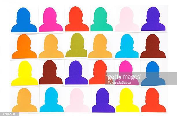 women silhouette portraits - menselijke vorm stockfoto's en -beelden