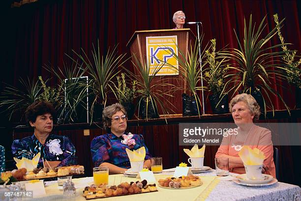 Women sit and listen during a luncheon for the Konserwatiewe Party a conservative party in South Africa with Dutch roots