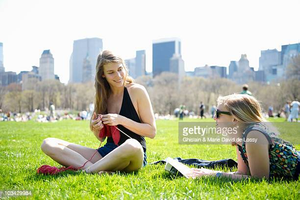 Women sitting in Central Park, summer time
