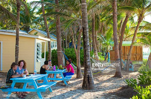 Women sitting under palm trees at the beach of Paradise Island on June 15 2012 in Nassau The Bahamas