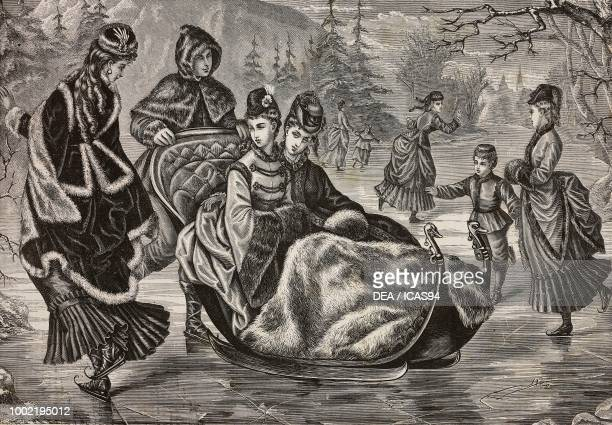 Women skating or being pulled on a sled on a frozen lake protected by furlined heavy winter coats and fur cape Madame Maury designs France engraving...