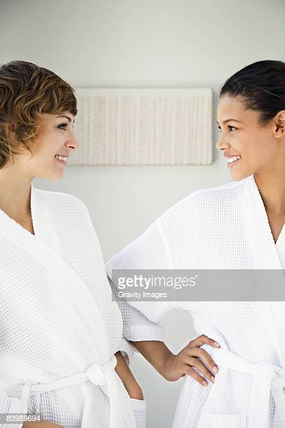 Women Smiling in Spa Robes