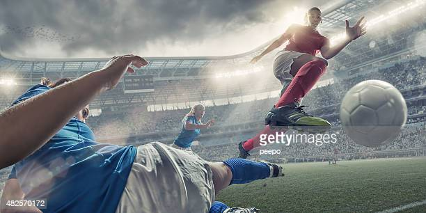 Women Soccer Players In Mid Air Action