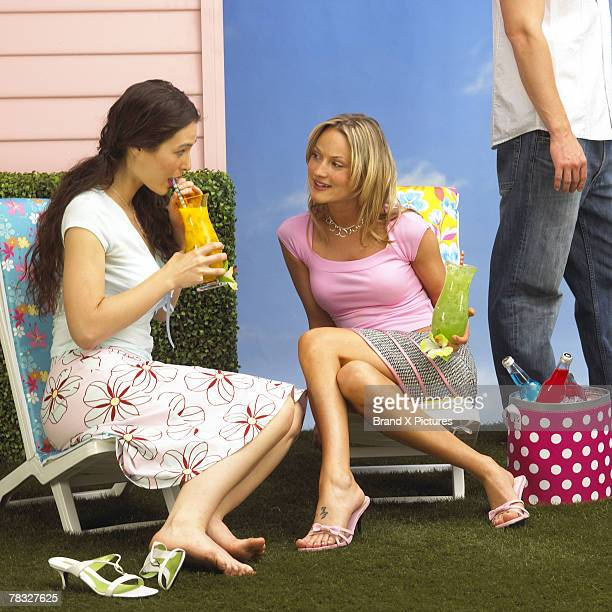 Women socializing at barbecue