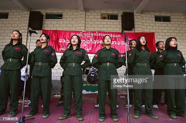 Women soldiers sing during the opening ceremony of the Kachin State Special Region 1 People's Conference on March 19 2006 in Panwa Kachin State...