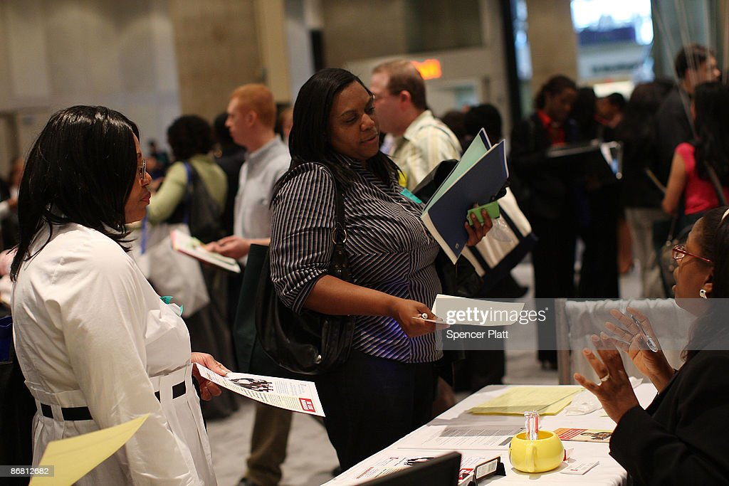 Women speak with job recruiters at a job fair for businesses in the medical profession on May 8, 2009 in New York, New York. In new numbers released this morning by the U.S. government reported that the American economy lost another 539,000 jobs in April and the unemployment rate has now risen to 8.9 percent. The new numbers of unemployed were lower than many experts expected, raising hopes that the worst of the recession is over.