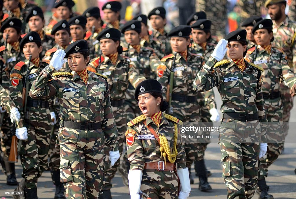 Women SSB personnel participating during the Republic Day Parade at Vidhan Bhavan on January 26, 2013 in Lucknow, India. India marked its Republic Day with celebrations held under heavy security, especially in New Delhi where large areas were sealed off for an annual parade of military hardware.
