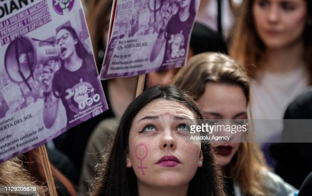 Women stage protests in Madrid after a general strike to mark the International Women's Day in Madrid Spain on March 08 2019