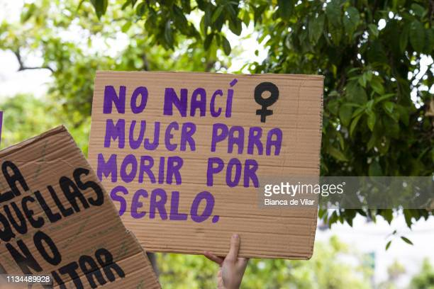 Women stage protests in Marbella after a general strike to mark the International Women's Day in Marbella on March 08 2019 in Marbella Spain