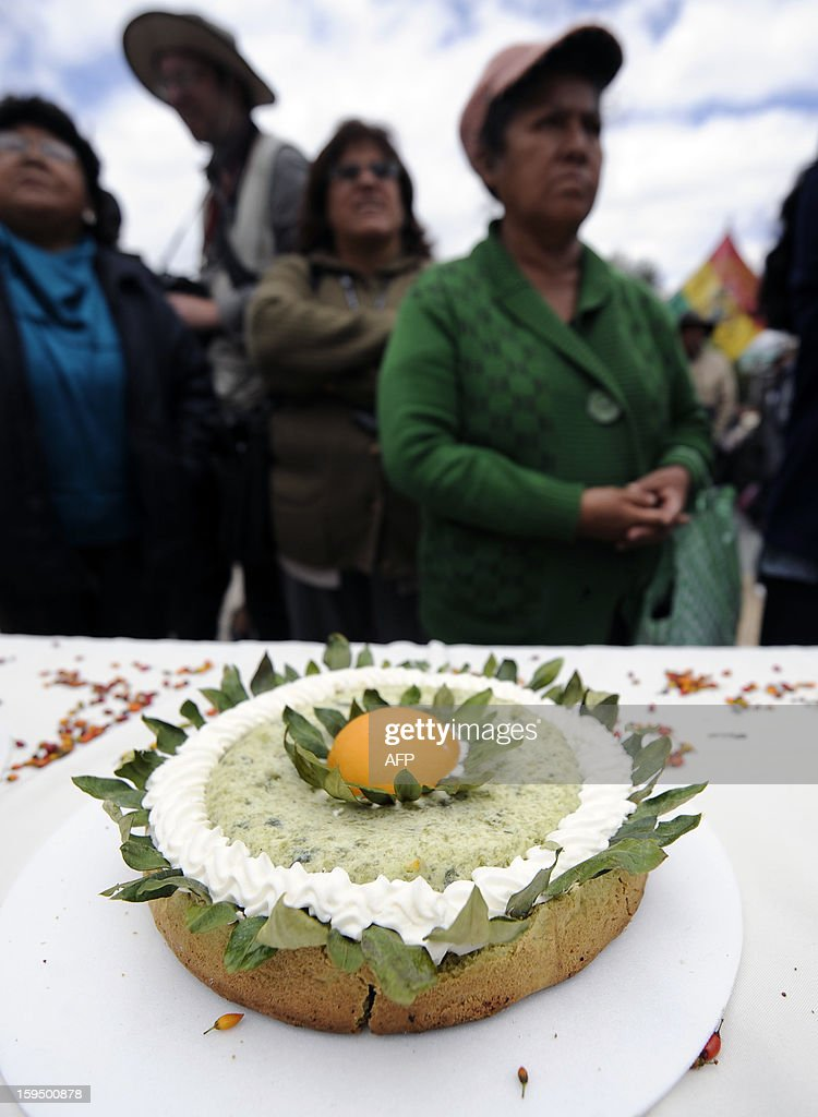 Women stand next to a pie made with coca flour during a celebration for the reincorporation of Bolivia to the UN Convention Against Illicit Traffic in Narcotic Drugs in La Paz on January 14, 2013. 'The coca leaf is not any more seen as cocaine (..), it is a victory of our identity' said Bolivian President Evo Morales. AFP PHOTO/Jorge Bernal