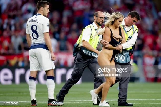 Women streaker during the UEFA Champions League match between Tottenham Hotspur v Liverpool at the Wanda Metropolitano on June 1 2019 in Madrid Spain