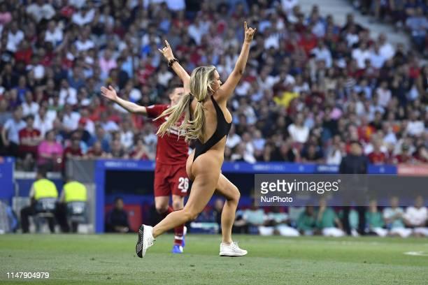 Women streaker Kinsey Wolanski during the 2019 UEFA Champions League Final match between Tottenham Hotspur and Liverpool at Wanda Metropolitano...