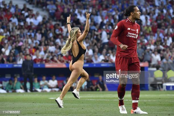 Women streaker Kinsey Wolanski during the 2019 UEFA Champions League Final match between Tottenham Hotspur and Liverpool at Wanda Metropolitano...