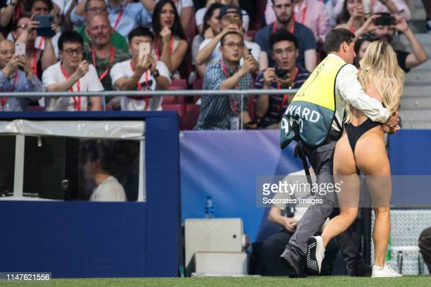 Women streaker Kinsey Wolanski during the UEFA Champions League match between Tottenham Hotspur v Liverpool at the Wanda Metropolitano on June 1 2019...