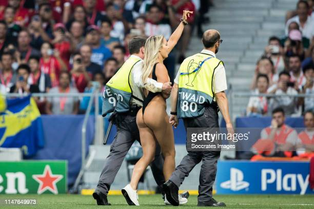 Women streaker Kinsey Wolanski during the UEFA Champions League match between Tottenham Hotspur v Liverpool at the Wanda Metropolitano on June 1 2019...
