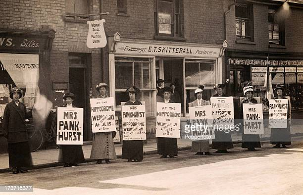 Women suffragettes advertising an appearance by Mrs Emmeline Pankhurst at the Hippodrome in Lowestoft circa 1914